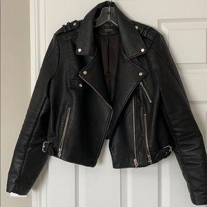Zara faux black leather bomber jacket